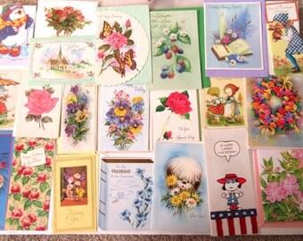 Vintage Greeting Cards  Stationery  Unused Card  with Envelopes Retro Cards Birthday  Baby Get Well Sympathy Unused Vintage Card