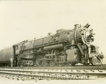 Antique engine train / railroad photo