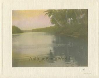 Jamaica river sunset antique hand tinted art photo