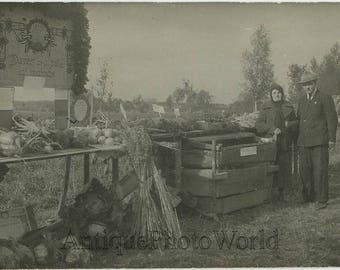 Vegetable food market display expo antique photo