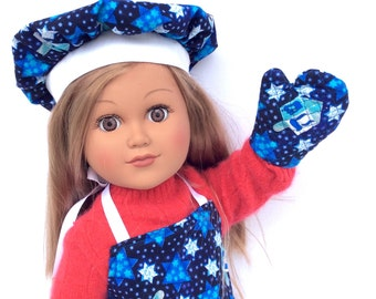 Hanukkah Chef's Set, 18 Inch Doll Clothes, Chanukah Doll Apron, Chef's Hat and Oven Mitt