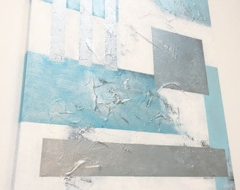 Abstract painting blue white silver acrylic texture