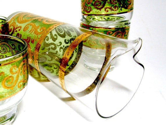 Culver Cocktail Set, Toledo Culver 5pc Cocktail Set,  Cocktail Pitcher, 4 Lowballs, Green Gold Paisley, Signed Culver Mid Century Barware