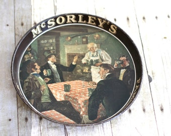 Vintage Rare McSorley's Famous Cream Stock Ale tray, Vintage McSorley's Cream Stock Ale tray, Antique McSorley's Metal Beer Tray
