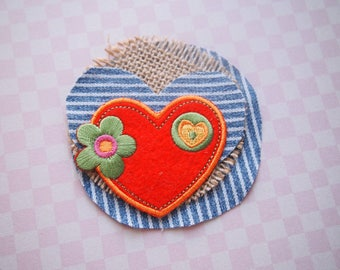 Handmade patch, boho patch, colorful patch,  OOAK patch, unique patches, Indian Rosy Patch, layered patch, Sew on patch, sew