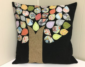 Handmade cushion cover, pillow cover, quilted appliqué, modern tree appliqué, made in Canada