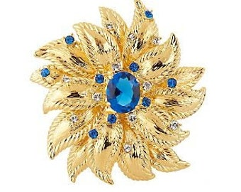 Jackie Kennedy Flower Pin - Gold Plated with Simulated Sapphire, Box and Certificate