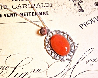 Vintage carnelian stone cabochon long necklace - Ethnic necklace, stone necklace, boho necklace, carnelian necklace