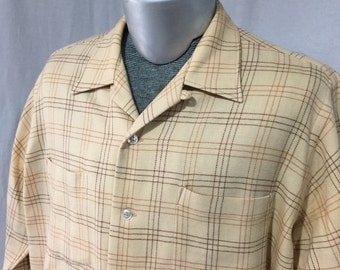 Vintage 1950s 60s Cashmere Wool Flannel Shirt Loomed in Scotland Capper n Capper for Hathaway of Chicago Size L 16
