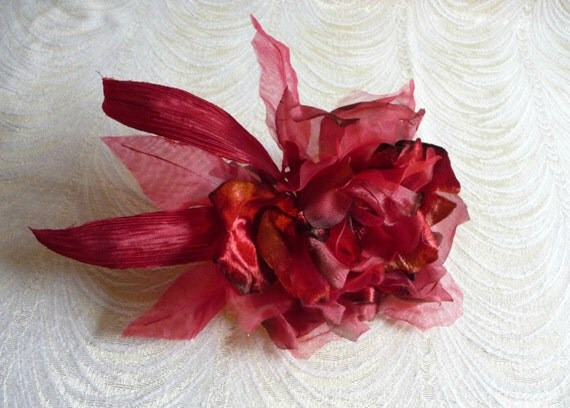 Large Silk And Velvet Rose Shaded Red Millinery With Long
