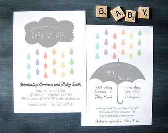 "Sprinkle Rain Baby Shower Invitation || Custom Digital Download Printable File || Umbrella, Cloud, Raindrops, Rainbow, Hearts || 5""x7"""