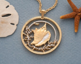 """Conch Shell Pendant & necklace, Bahamas One Dollar Hand Cut Coin , 14 Karat Gold and Rhodium Plated , 1 1/4"""" in Diameter ( # 19 )"""