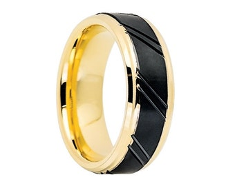 Tungsten Wedding Band,Tungsten Wedding Ring,18k Gold,Matte Finish,Black and Yellow,Engagement Ring,Anniversary Band,8mm,Gold Tungsten Band