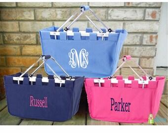 Monogrammed Market Basket, Personalized Market Tote, Large Fold Up Basket, Collapsible Basket, Storage Basket with Monogram