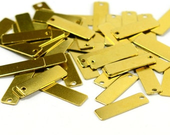 100 Pcs. Raw Brass 6x19 mm Rectangle 1 Hole Stamping Findings