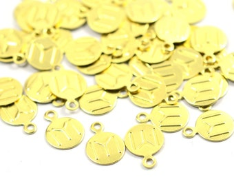 100 Pcs. Raw Brass  8 mm Round Drop Findings