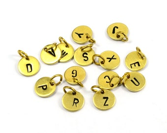 1 Pcs.Raw Brass Initial Letter Charms 8 mm Round Disc with Jump Ring