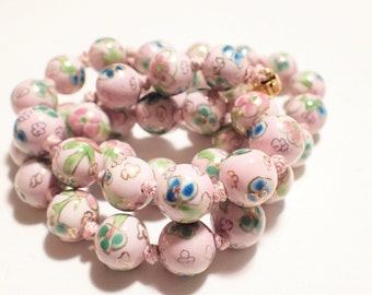 Chinese Hand Knotted Soft Pink Cloisonne Bead Necklace
