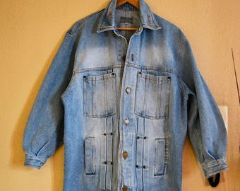 Vintage denim jacket, denim jacket, vintage jacket caster