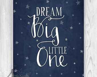 Dream Big Little One Typography Art Print, Nursery Wall Decor, Playroom, Gift, Pink Nursery, Baby Girl, Baby Shower Gift, Wall Art Print