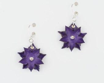 Leather Flower earrings in Red or Purple