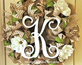 Custom Monogram Burlap and Magnolia Deco Mesh Wreath - Monogram Wreath - Burlap Wreath - Magnolia Wreath