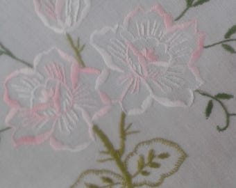 Hand Embroidered Vintage Floral Tablecloth