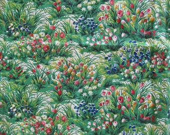 Brightly colored green floral fabric, Week-end by Romanax vintage French fabric