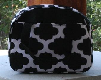 Girls Monogrammed Lunch Bag Black Quatrefoil Insulated Cooler Tote