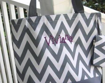 Personalized Gift  Gray Chevron Tote Bag