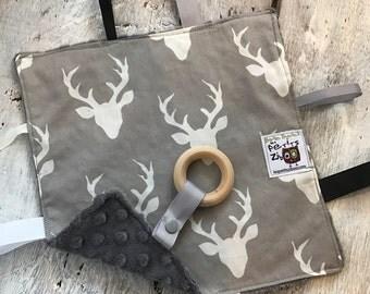 baby 'Rikiki' blanket, deers, minky blankie, ribbons, pacifier or toy holder