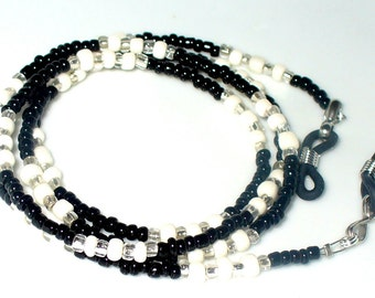 Necklace, bracelet, black cream silver 74 cm (121)