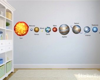 Solar System Planets With Names Wall Decals Graphic Vinyl Sticker Bedroom Living Room School Classroom Wall