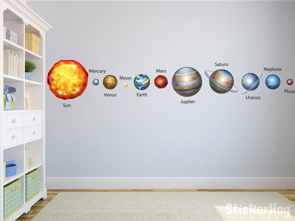 Solar System Planets with Names Wall Decals Graphic Vinyl
