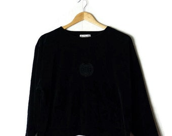 Vintage Plain Black Velour Long sleeve Slouchy Blouse/Top from 1980's/minimal*