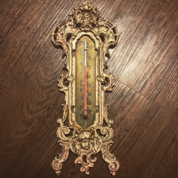 Late 1800's Antique Victorian Wall Thermometer