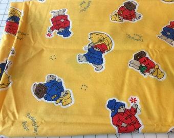Destash, Paddington Bear Cotton Fabric 2 + 3/4 yards, Nursery Decor Fabric