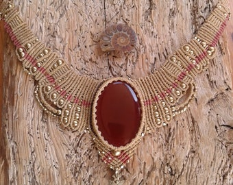Macrame Carnelian Collar Necklace. Gold and Brown. Goddess Adornment. Gypsy Jewellery.
