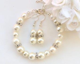 Bridesmaid gift, pearl bracelet earrings, bridesmaid bracelet earrings, pearl and rhinestone, wedding gift