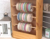 Rustic wooden ribbon storage shelf -craft storage-wooden shelf-wine crate-sewing box-ribbon reels-ribbon display-pastel ribbon-crates-boxes