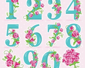 80% OFF SALE Floral numbers clipart, wedding clipart commercial use, Floral vector graphics, flowers clip art, digital images - CL956
