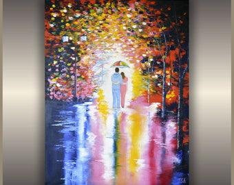 """Original Oil Painting Under Umbrella fine art oil painting night park oil painting ORIGINAL Oil Painting """"Under Umbrella"""""""