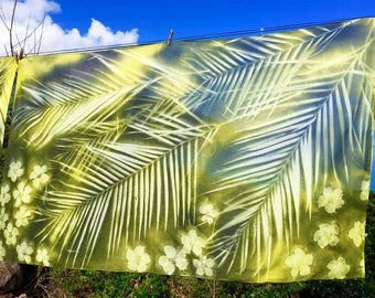 Handprinted Nature Embossed Cotton Textile Beach Sarong Pareo Made in Seychelles:  Palm Leaf Design |  Chartreuse