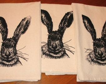 Flour Sack Jack Rabbit Towel with Screenprinted Original Art - Easter Gift