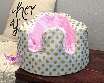 White and Gold Polka Dot and Light Pink Minky Bumbo Seat Cover