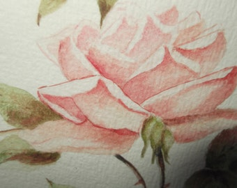 Stunning Framed Watercolour Painting of a Pink Rose , Vintage framed Rose  painting, Pink Rose Wall Art , Vintage Rose painting