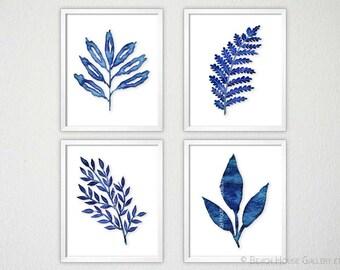 Indigo Sea Coral Art Prints Set of Four, Blue Coral Print, Algae Prints, Indigo Coral Wall Art, Coral Print, Indigo Sealife print