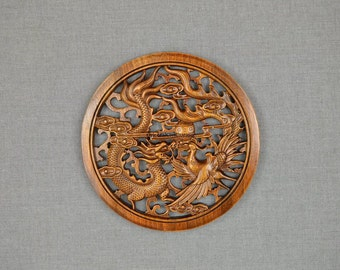 Dragon and Phoenix Wood Carving Wall Art Decor Hangings Wedding Anniversary Gift For couples