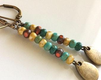 Bohemian Earrings  Multi Colored Glass Earrings  Long Dangle Earrings  Czech Glass  Brass Leverbacks  Gypsy Dangles