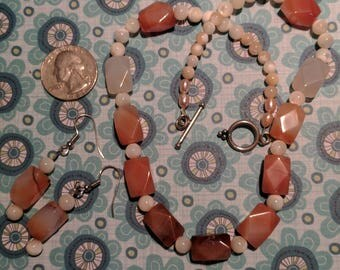 Carnelian and Mother of Pearl Necklace and Earring Set
